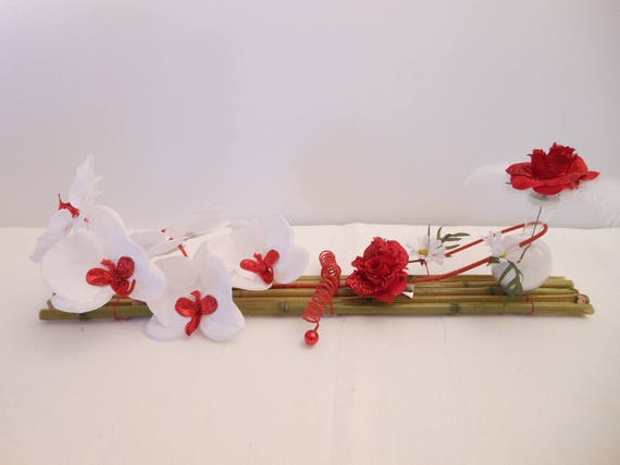Center Table Wedding Red And White Orchid And Pink On Bamboo Etsy