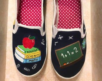 Teacher custom hand painted shoes