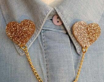 LASERCUT acrylic heart COLLAR clips/brooches- gold glitter  - gift - present - girlfriend