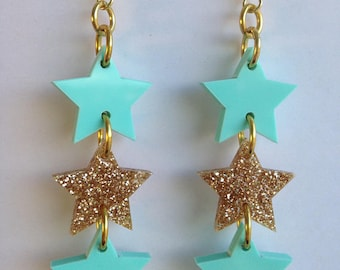 LASERCUT STAR acrylic earrings- gold glitter and turquoise - gift - present - girlfriend
