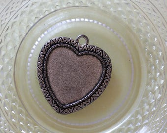 lace edged raw brass heart charm