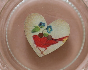 bird red heart button