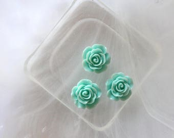 small pink flower cabochon turquoise scrapbooking