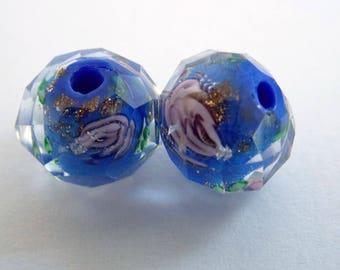 pink blue flower lampwork glass bead