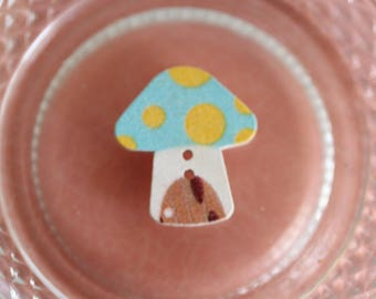 button wood mushroom blue and yellow