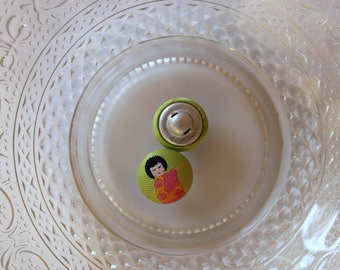 Asian Chinese girl green cloth button