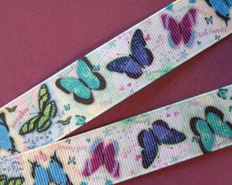 pretty White Ribbon with blue butterflies
