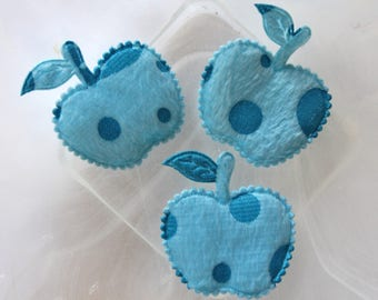 set of 2 apples blue fabric scrapbooking