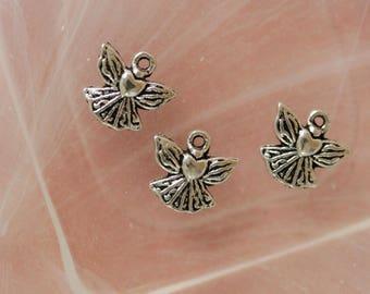 Angel heart silver charm