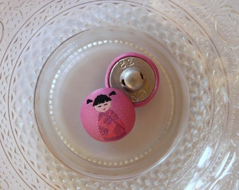Pink Chinese girl cloth button