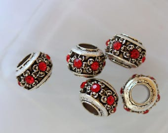 Perle metal red rhinestone flower Charm