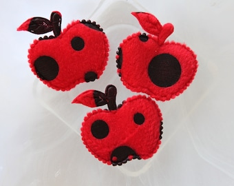 set of 2 apples, red and black fabric scrapbooking