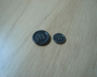 set of two buttons granite gray marbled