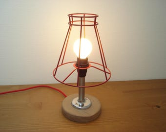 """lamp shade wired red """"brushed and chromed metal"""""""