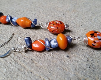 Wire wrapped beaded earrings, Glass bead earrings, Art glass earrings, Lampwork glass earrings
