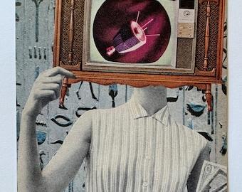 Alien art Space art Living room artwork TV Lady artwork Original collage art Funky Egyptian art