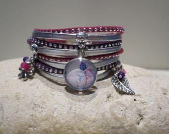 Bracelet cabochon silver suede leather cuff mother gift women teenager fuchsia blue purple Peacock feather