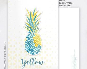 Carte Décorative Yellow Ananas - Carte postale illustration