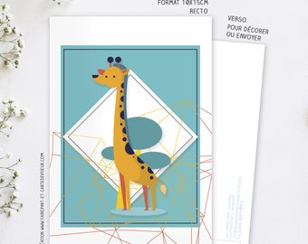Carte Décorative Girafe - Carte postale illustration - Enfant et Adulte