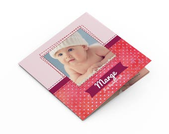 Girl birth announcement - to personalize - model margin