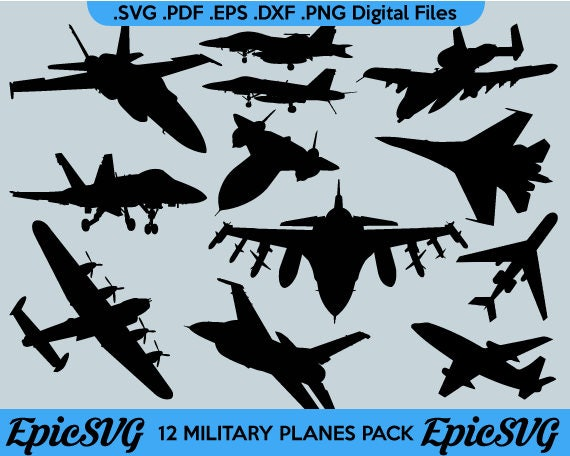 12 Military Planes Svg Pdf Eps Dxf Png Clipart Vector Etsy
