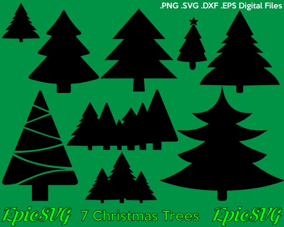Christmas Trees Silhouette.Christmas Tree Silhouette Svg Dxf Eps Digital File Clipart Cameo Cricut T Shirt Design