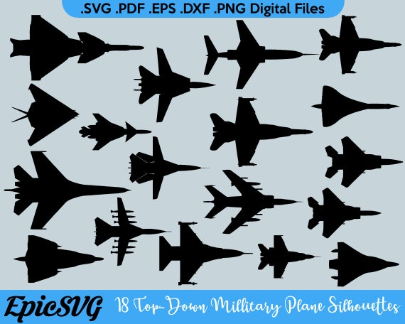 18 Top Down Military Airplane Silhouettes Svg Pdf Eps Etsy