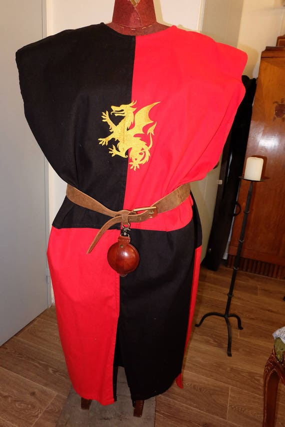Tabard or medieval tunic with beautiful embroidery dragon men