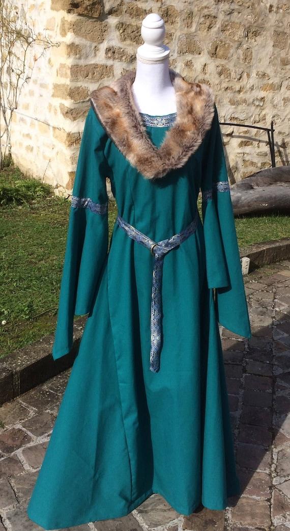 Medieval Dress / Historical Dress with Faux Fur Celtic Blue | Etsy
