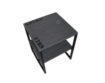 End table industrial style grey wood and steel