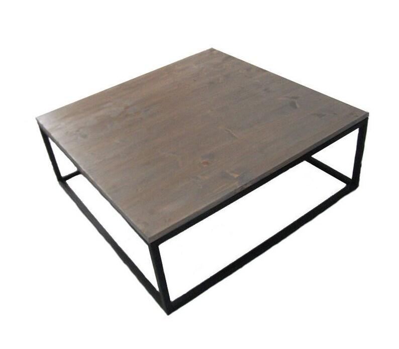 Acier Loft Line Table Bois Design Basse Et Gris Industrielle jLqc354RA