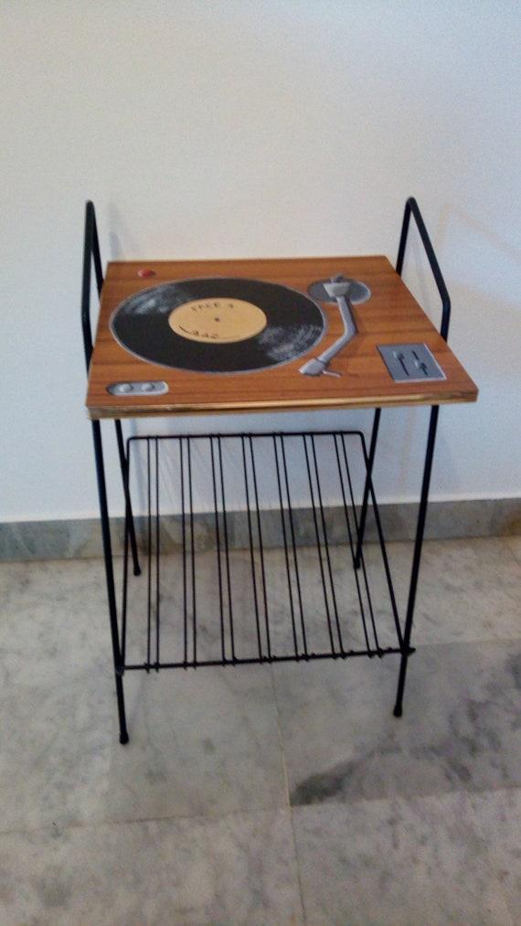Meuble pour vinyles meuble tourne disques table vintage etsy - Meuble pour tourne disque ...