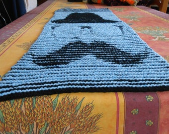hand knitted scarf stitch fancy blue and black acrylic optical illusion