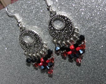 """*~. """"Intense"""" earrings. ~ * red, Burgundy, original, light and colorful"""