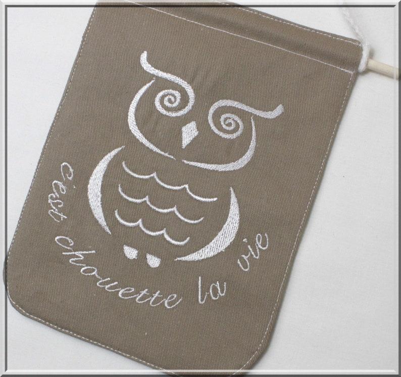 Fanion wall decoration owl it's nice life pennant image 0