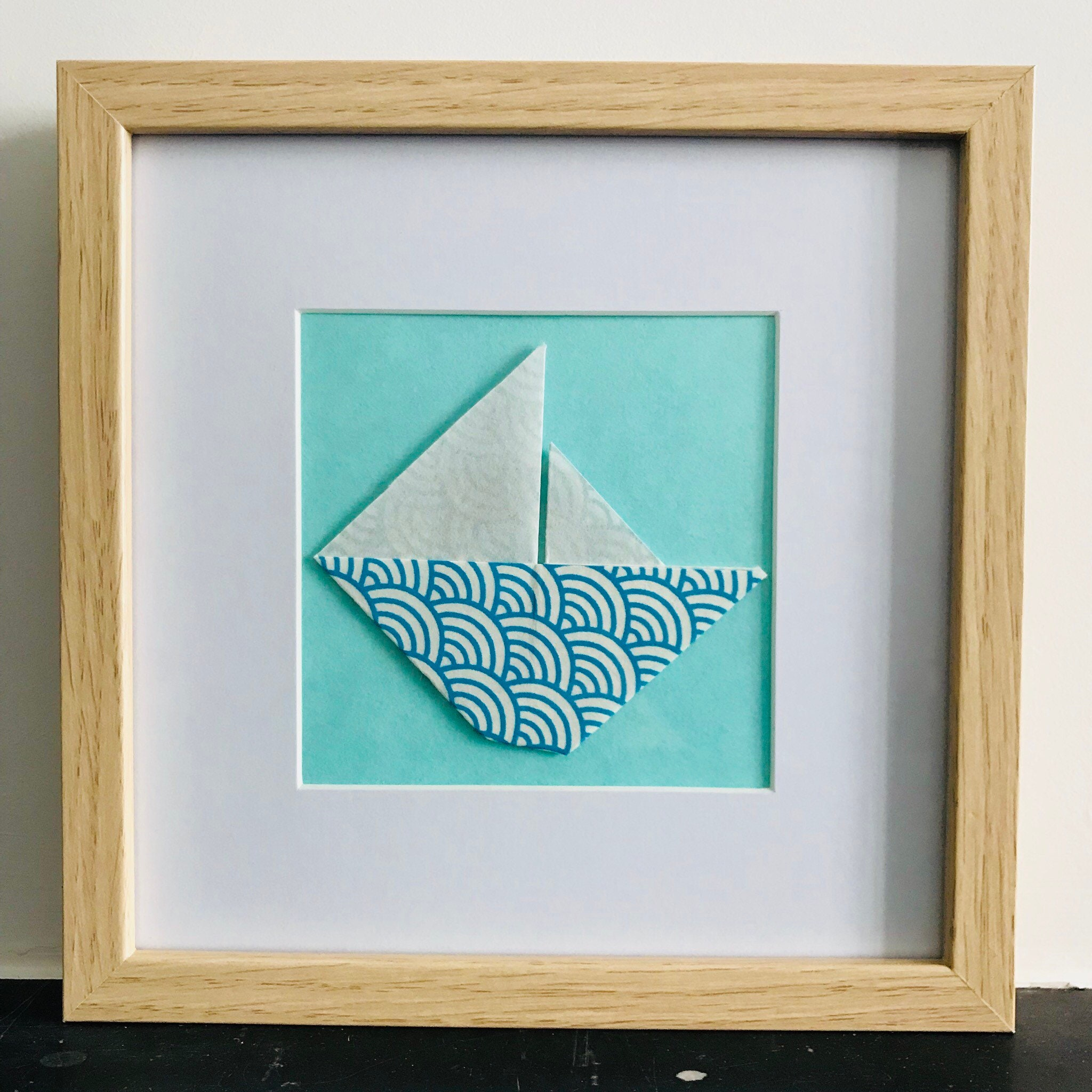 Square Frame 20cm X 20 Cm Boat Origami Blue Mint Green Background
