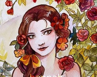 A4 PRINT || Belle Watercolour Painting