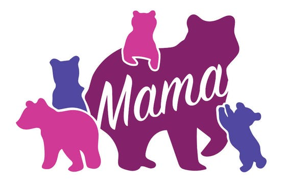 Mama Bear 4 Cubs Vinyl Decal 5X 5 White