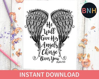 Psalm 9111 Coloring Page Scripture Angel Wings Adult Bible Verse Worship