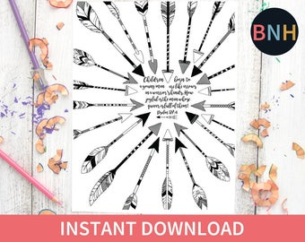 Psalm 1274 Illustrated Coloring Page Scripture Arrows Adult Bible Verse Worship