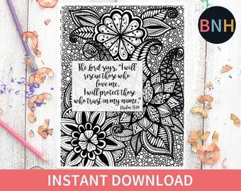 Psalm 9114 Bible Coloring Page Scripture Flowers Printable Color Verse Worship