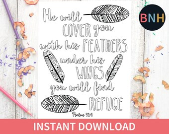 Psalm 914 Scripture Coloring Page Bible Feathers Printable Color Verse Worship