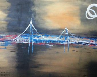 "Bridge - Large Abstract Painting 24""x 36"" Black & Gold"