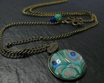 Designer necklace Art Deco 1 Bronze to Peacock jewelry