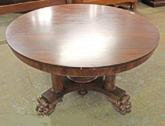 MAHOGANY ROUND Dining Room Table, 4 Leaves, 54\