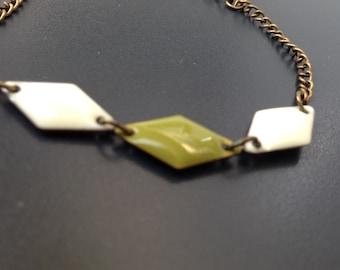 bronze trio bracelet ivory and khaki diamond enamel