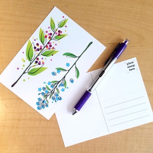 Postcard and Bookmarks Combo Flowers and Berries