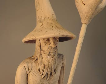 Gandalf the White ceramic figurine wizard sculpture