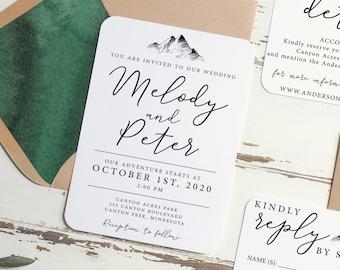 Mountain Wedding Invitation Set, Adventure Kraft Invitation, DIY Wedding Invitation, Rustic Wedding Invitation, PDF Printable Invitation Kit