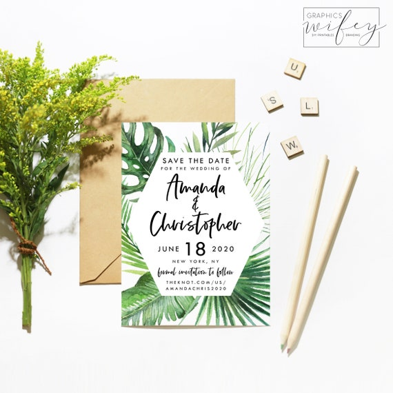 tropical save the date palm tree wedding template electronic etsy